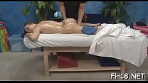 Clean shaved pink snatch of stunning girl is fu...