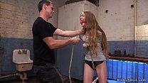 Tied Babe Gets Gangbang Slave Training