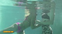 Girls kissing nice in the pool