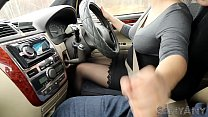 Extreme And Risky Handjob While Driving Car ! S