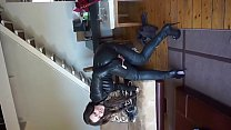 julie skyhigh fitting her leather catsuit & thigh high boots's Thumb