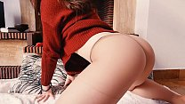 Double-climax in torn pantyhose