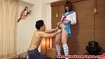 Sailor cosplay ladyboy assfucked standing up