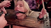 Slaves swapping cum in bdsm party
