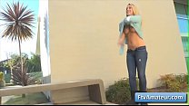 Sexy busty blonde teen girl Zoey flash her boob...