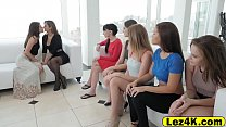 Gorgeous office lesbian girlfriends train pussy fucking porn thumbnail