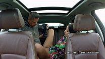 Stranded teen bangs in opened roof car Image