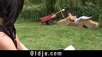 Old dick fuck and cunnilingus satisfy dirty brunette