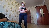 Mature milf shows a striptease and jumps on a lesbian in a pose a cowgirl, a huge strapon in a hairy pussy and chic shapes bbw. thumbnail