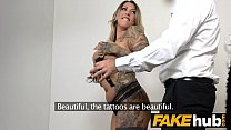 Fake Agent German girl with tattoos and natural...