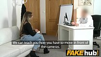 Fake Agent German girl with tattoos and natural body on casting couch thumbnail