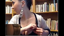 girl in library does hot webcam display - sexxy...