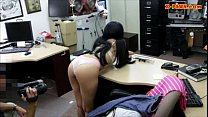Brunette girl screwed at the pawnshop to earn extra money