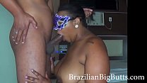 BrazilianBigButts.com BBW Big Ass Girl Gets Creampie in Fat Pussy