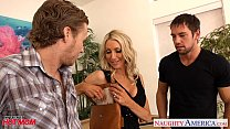 Busty mom Emma Starr suck and fuck two cocks in threesome video