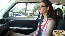Teen stranded sucks dick for a ride home Tali D...