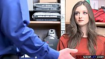 Pretty brunette teen caught shoplifting by a ma...