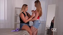 DDF Busty Hot lesbians with Big tits Strap on fuck to Orgasm thumbnail
