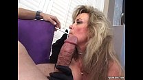 Sexy blonde mature smokes and sucks cock video