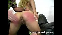 A cute rear get some hard hand spanking