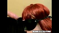 Blindfolded redhead gets deepthroat