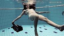 Naked Russian mermaid in the pool
