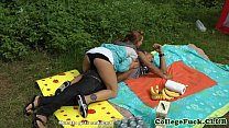 College babe fucked at outdoor bbq