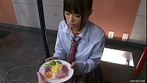 Japanese Schoolgirl Chika Is On Her Knees Chained To A Pole And Forced To Drink