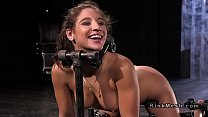 Restrained in different devices babe flogged