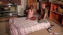 Black girl enjoys a hot sex session with a bald older guy