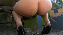 Busty amateur exhibitionist Lolas public nudity and outdoor masturbation of sexy