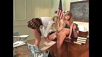 Two blonde naughty girls suck teacher's cock after school