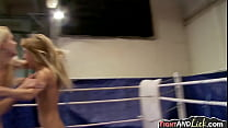 Tow sexy blondes wrestle then eat pussy pornhub video