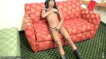 Kinky ebony shedoll in boots strips off her black bikini