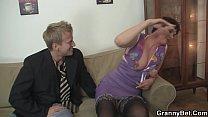 Hairy granny in black stockings