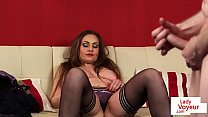 Femdom MILF instructs humiliated sub to wank