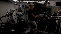 Sexy blonde gf doing sports and blowjob in the gym