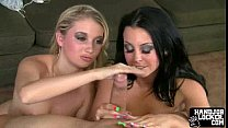 Two hot college girls play witha dick