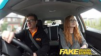 Fake Driving School readhead teen and busty MILF creampie thumbnail