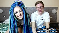 ITALIAN CASTING OF A RASTA GIRL LADY BLUE ALTERNATIVE MODEL WITH THE ITALIAN PORN ACTOR MAX FELICITAS
