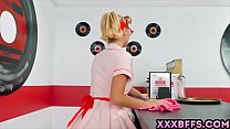 Blonde dressed up as a pin up waitress and gets...