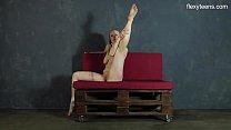 Hot gymnast Sofya Belaya spreading her long legs