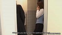 Sucking off a dude in the men's bathroom image