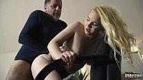 Teen on her knees sucking on grandpa cock taking facial cumshot