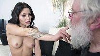 Grandpa sucks young girls tits then gets a deepthroat blowjob