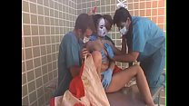 Three dissolute studs change into medical clothing to poke young newcomer geisha  Annie Cruz in the masseuse