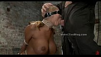 Sex slave with huge breasts tied like a hog and fucked in extreme deepthroat sex thumbnail