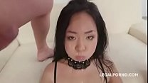 Asian Jureka Del Mar gets hardcore Dp and swallows piss
