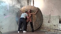 Gagged slave fingered and toyed by master