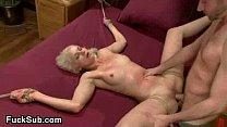 Tied blondie fucked hard